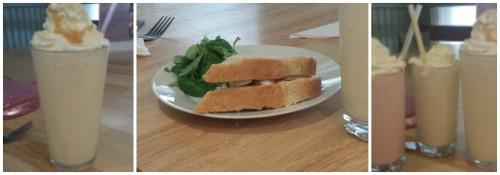Humble Pi milkshakes and sandwich